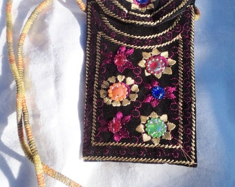 festival pouch, festival purse, festival bag, boho pouch, boho purse, boho bag, black neck pouch, embroidered purse, embroidered bag