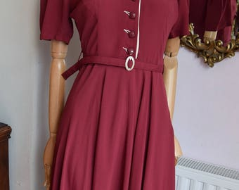 1940's Styled Dress in Original 1940's Crepe de Chine Size UK 8