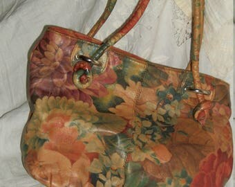 Handmade Floral Leather Purse with Chili Pepper Lining Orig ReDesign One of a Kind