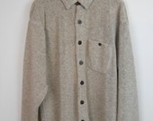 Vintage 90s Fleece Light Brown Mens Shirt Grunge Button Down Thick Plush XL Tech