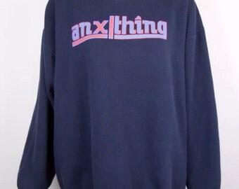 Vintage 90s XLARGE aNYthing A New York Thing Sweatshirt Ape NYC Streetwear Hip Hop Rap Tees Sweater Tshirt