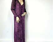 Sheer Boho Lingerie Dress Vintage Chenille Black Cover-Up Purple Pink Tufted Maxi Mumu Size Medium