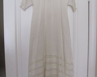 "Baby Dress Antique Victorian White 32"" Long Baby Christening Gown Dress Cotton (01A)"