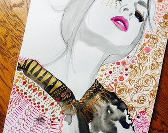 "The New Bohemian, original 15 x 20"" watercolor and mixed media fashion illustration by Jessica Durrant"