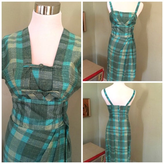 1950s The KAHALA Made in Honolulu for McKerny Two Piece Blue and Grey Plaid Cotton Matching Bolero and Faux Sarong Dress Set-XS