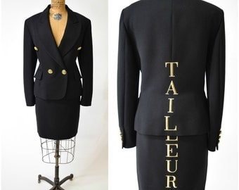 """90s Moschino Couture """"Tailleur"""" 2-Pc Black Suit Jacket & Skirt Set w Gold Text // Tailored, Chic Collectabe Designer Vintage"""