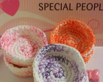 Nesting Bowls, Verigated Crochet bowls, Storage Bowls, Individual Bowl, Spring Gift Basket