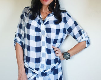 White blue checkered women dress, button fastenned tunic, cotton, summer, original dress, above knee length