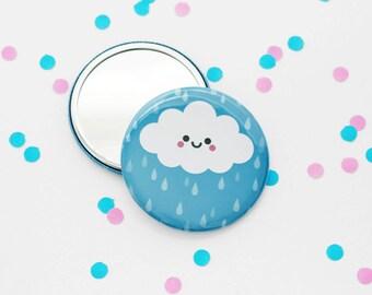 Happy Cloud Pocket Mirror, Small Mirror, Kawaii Gift, Purse Mirror