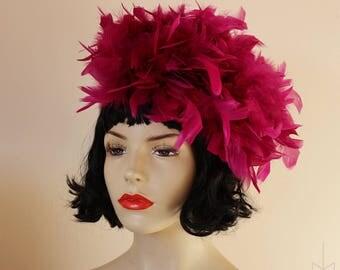 Cranberry plum deep rasberry feather boa hat fascinator retro vintage 60's style