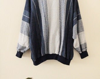 80's Oversized Striped Pullover