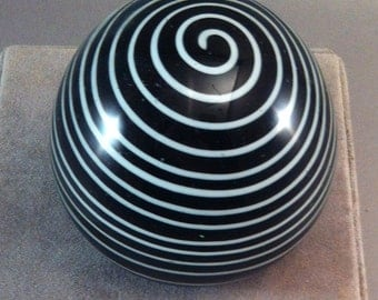 Vintage Black and White Spiral Paperweight, Modern Abstract Paperweights, Studio Glass Paperweight, Abstract glass design, **USA ONLY**