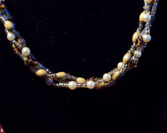 Tawny Pearl Wood and Glass Twisted Strands Necklace