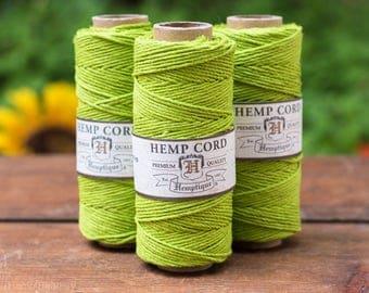 Hemp Cord,  1mm, 205 feet,  Lime Green,  Hemp String,  Macrame Cord-T9