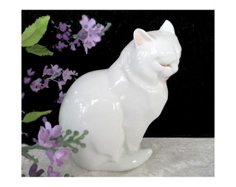 Cat Figurine * Fitz And Floyd * White Cat Figure * Vintage 1983