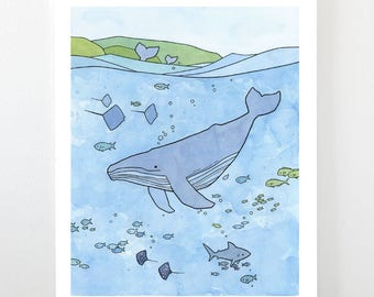 Tropical Ocean Illustration - Humpback Whale, Shark, Rays - Limited edition art print