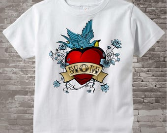 Boy's Mother's Day Mom Tattoo Shirt for kids, Tattoo Heart Shirt, Personalized Tattoo Heart tshirt kids 01182011a