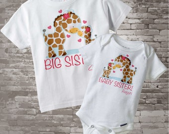 Set of Two Personalized Big Sister and Baby Sister Giraffes Shirt and Onesie 07092012a