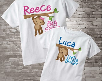 Big Sister Little Brother Shirt set of 2, Sibling Shirt, Personalized T-shirt or Onesie with Cute Monkeys (12242013a)