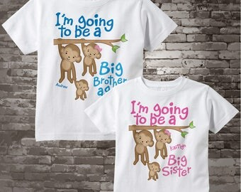 I'm Going to Be A Big Brother Again, Big Sister Shirt set of 2, Sibling Shirt, Personalized Tshirt with Cute Monkeys 01202014f