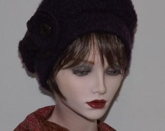 On Sale, Dark Purple Boucle Fabric Tam, Ladies Warm Hats