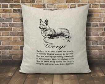 Corgi Pillow, Faux Burlap pillow cover, Pillow 16x16 cover, Burlap pillow cover, Dog Lover Pillow, Dog Pillow, Cute Dog Pillow, Short Dog