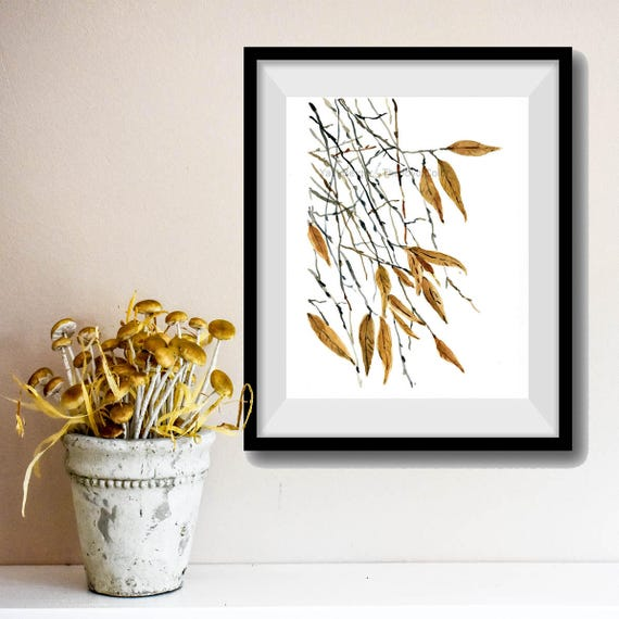 Falling Leaves art Print, Watercolor painting, dried leaves print, wall decor, nature art, Autumn print, Mustard black, modern art