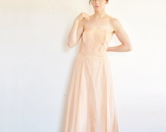 1950 peach strapless Peggy Hunt dress . back to the future mom for sure .medium .sale