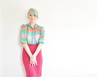 rainbow brite as a secretary . colorful sheer striped blouse top .medium .sale