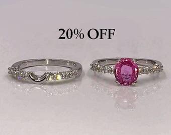 Pink Sapphire Engagement Ring Set w/Diamonds, Sapphire Engagement Ring, Sapphire Bridal Ring Set, Pink Sapphire Ring, Appraisal Incl