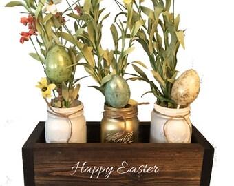 Easter centerpiece, mason jar decor, spring table decor, mantle decor, planter box, wooden table box, farmhouse decor, Easter decor