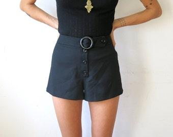 90s Black Shorts / Button Front Shorts / Sz S