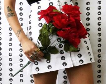 Tati Compton X Rusty Cuts 8 Ball Skirt / High Waisted White Skirt with Front Ring Zipper Sz XS S M L