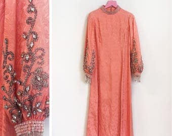 Vintage 1960s-70s Damask-like Salmon/Pink Maxi-Evening Dress with Embellished Sleeves and Neckline Size M