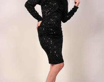 Vintage All Over Sequined Black Dress
