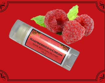 RASPBERRIES-N-CREAM Lip Balm made with Shea Butter - .15oz Oval Tube