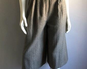 Vintage Women's 70's Wool Culottes, Tan, Gaucho Pants (S)