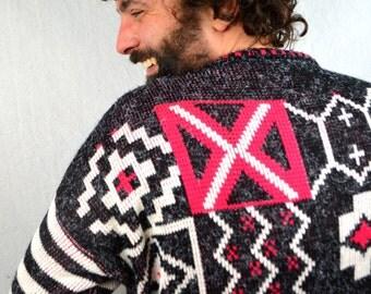 Vintage 80s 1980s Fun Geometric Knit Sweater- Capistrano