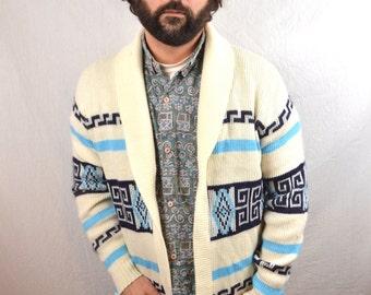 Vintage 1970s 70s Cardigan Acrylic Geometric Southwest Knit Sweater