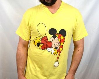 Vintage 80s Oversized Mickey Mouse Yellow Night Shirt