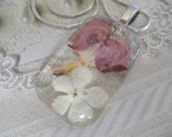 Pink Bleeding Heart, Snowball Bush Blossom Glass Rectangle Pressed Flower Pendant-Symbolizes Undying Love, Thoughts of Heaven-Nature's Art