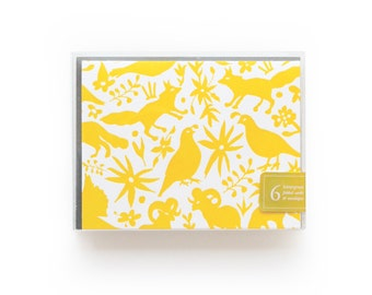 Otomi - set of 6 letterpress cards