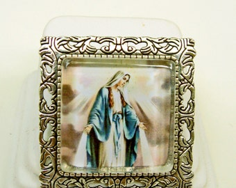 Miraculous medal convertible brooch/pendant and chain - AP35-004