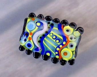 Funky  -1 free shaped lampwork bead - Modern Glass Art by Michou P. Anderson