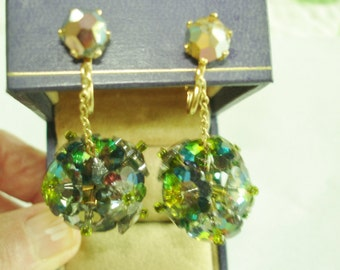Green Crystal Dangle Earrings Gold Tone Clip.