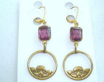Amethyst  Glass Stone Gold Tone Dangle  Earrings