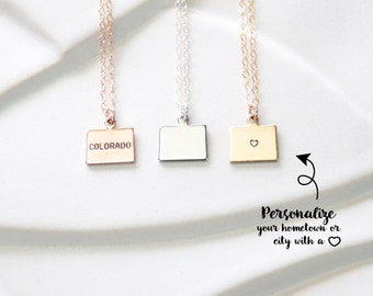 State Gift Necklace Small Colorado Necklace, Rose Gold Colorado Bracelet, Small State Necklace Gift, Colorado with Heart Sterling Silver
