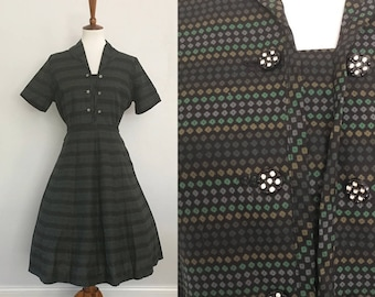 Mode O'Day Vintage 1950s Dress | Green Black Polka Dot | Never Worn | Large | Bust 42"