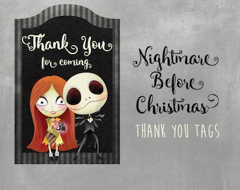 Nightmare Before Christmas Thank you Gift Tags, Instant Download, Printable Party Supplies,Birthday, Thank you, Favor tags, Baby Shower