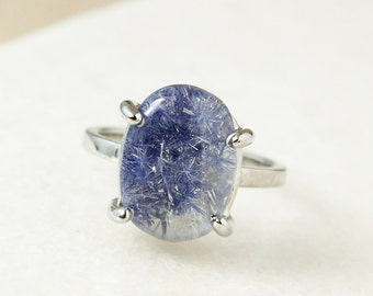 Silver Oval Blue Dumortierite Ring - Solitaire Ring - Rare Gemstone Ring